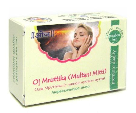 Косметика и гигиена. Мыло аюрведическое Мруттика (с глиной мултани мутти) Oj Mruttika Soap (Multani Mitti)