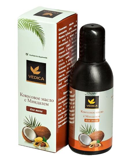 Косметика и гигиена. Кокосовое масло Vedica с Миндалем для тела (100 мл)