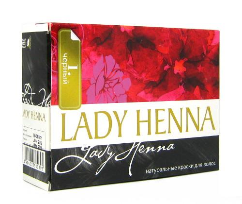 Косметика и гигиена. Краска для волос на основе хны Lady Henna (Черный, тон 1)