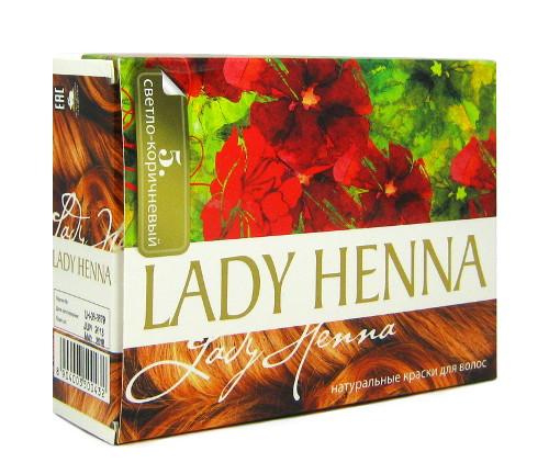 Косметика и гигиена. Краска для волос на основе хны Lady Henna (Светло-коричневый, тон 5)