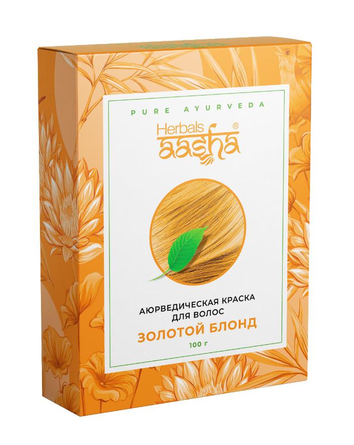 Косметика и гигиена. Аюрведическая краска для волос Herbals AASHA (Золотой блонд)