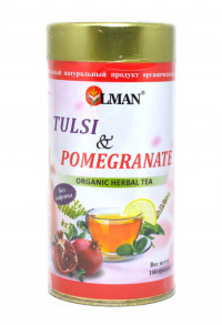 OLMAN organic Herbal tea Tulsi and Pomegranate (Чай Тулси с Гранатом) 100 г.